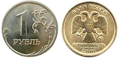 1 рубль 2001 года стоимость