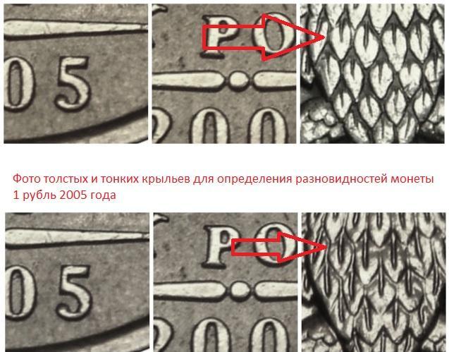 1 рубль 2005 года разновидности